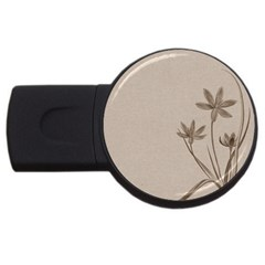 Background Vintage Drawing Sepia Usb Flash Drive Round (2 Gb)
