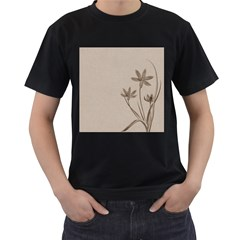 Background Vintage Drawing Sepia Men s T-Shirt (Black) (Two Sided)