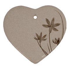 Background Vintage Drawing Sepia Heart Ornament (Two Sides)