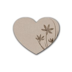 Background Vintage Drawing Sepia Rubber Coaster (Heart)