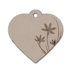 Background Vintage Drawing Sepia Dog Tag Heart (Two Sides)