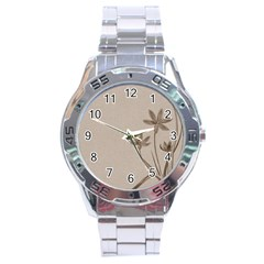 Background Vintage Drawing Sepia Stainless Steel Analogue Watch