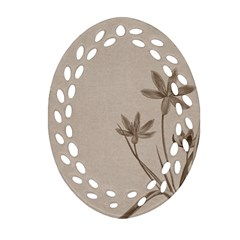 Background Vintage Drawing Sepia Oval Filigree Ornament (two Sides)