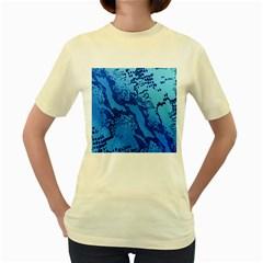 Background Tissu Fleur Bleu Women s Yellow T-Shirt