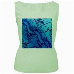 Background Tissu Fleur Bleu Women s Green Tank Top