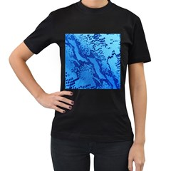 Background Tissu Fleur Bleu Women s T-Shirt (Black) (Two Sided)