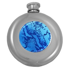 Background Tissu Fleur Bleu Round Hip Flask (5 oz)