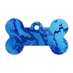Background Tissu Fleur Bleu Dog Tag Bone (One Side)
