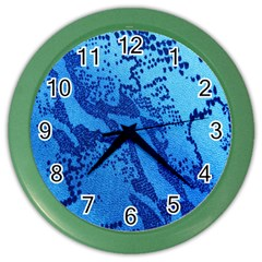 Background Tissu Fleur Bleu Color Wall Clocks