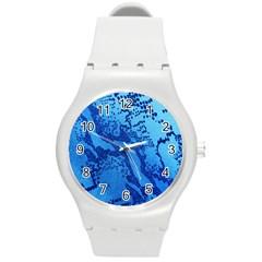 Background Tissu Fleur Bleu Round Plastic Sport Watch (m)
