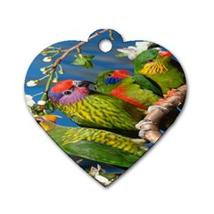 Beautifull Parrots Bird Dog Tag Heart (Two Sides)
