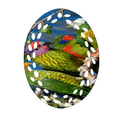 Beautifull Parrots Bird Oval Filigree Ornament (Two Sides)