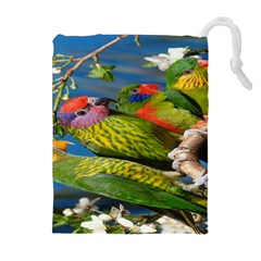 Beautifull Parrots Bird Drawstring Pouches (Extra Large)
