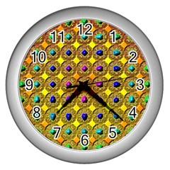 Background Tile Kaleidoscope Wall Clocks (Silver)