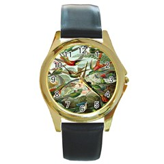 Beautiful Bird Round Gold Metal Watch