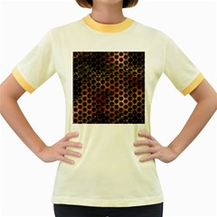Beehive Pattern Women s Fitted Ringer T-Shirts