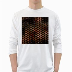 Beehive Pattern White Long Sleeve T-Shirts