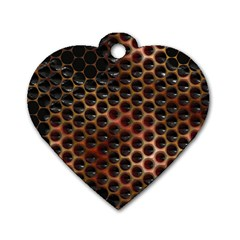 Beehive Pattern Dog Tag Heart (two Sides)
