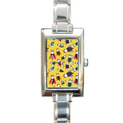 Bees Animal Pattern Rectangle Italian Charm Watch