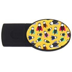Bees Animal Pattern USB Flash Drive Oval (4 GB)