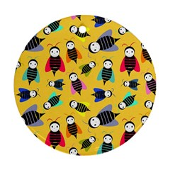 Bees Animal Pattern Round Ornament (Two Sides)