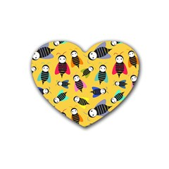 Bees Animal Pattern Heart Coaster (4 pack)