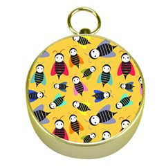 Bees Animal Pattern Gold Compasses