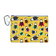 Bees Animal Pattern Canvas Cosmetic Bag (M)