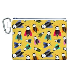 Bees Animal Pattern Canvas Cosmetic Bag (L)