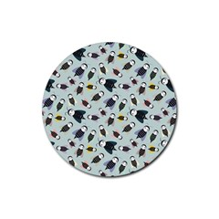 Bees Animal Pattern Rubber Coaster (Round)