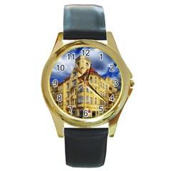 Berlin Friednau Germany Building Round Gold Metal Watch