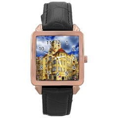 Berlin Friednau Germany Building Rose Gold Leather Watch
