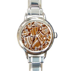 Biscuit Brown Christmas Cookie Round Italian Charm Watch