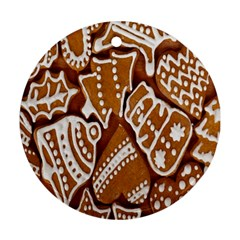 Biscuit Brown Christmas Cookie Ornament (Round)