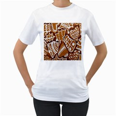 Biscuit Brown Christmas Cookie Women s T-Shirt (White) (Two Sided)