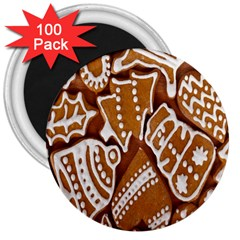 Biscuit Brown Christmas Cookie 3  Magnets (100 pack)