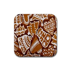Biscuit Brown Christmas Cookie Rubber Square Coaster (4 pack)