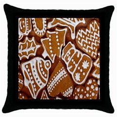 Biscuit Brown Christmas Cookie Throw Pillow Case (Black)