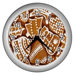 Biscuit Brown Christmas Cookie Wall Clocks (Silver)