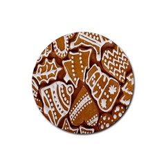 Biscuit Brown Christmas Cookie Rubber Coaster (Round)