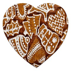 Biscuit Brown Christmas Cookie Jigsaw Puzzle (Heart)