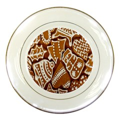 Biscuit Brown Christmas Cookie Porcelain Plates