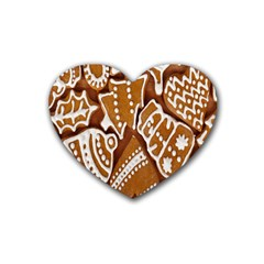 Biscuit Brown Christmas Cookie Rubber Coaster (Heart)