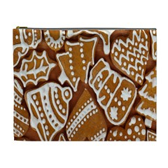 Biscuit Brown Christmas Cookie Cosmetic Bag (XL)