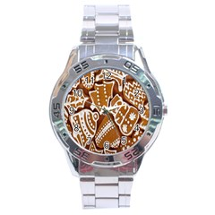 Biscuit Brown Christmas Cookie Stainless Steel Analogue Watch