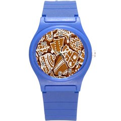 Biscuit Brown Christmas Cookie Round Plastic Sport Watch (s)