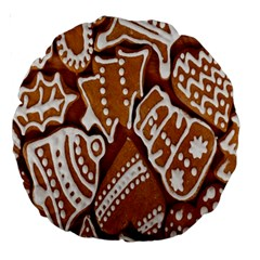 Biscuit Brown Christmas Cookie Large 18  Premium Round Cushions