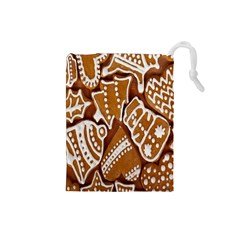 Biscuit Brown Christmas Cookie Drawstring Pouches (Small)
