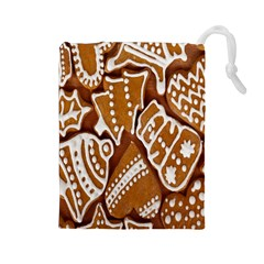 Biscuit Brown Christmas Cookie Drawstring Pouches (large)