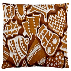 Biscuit Brown Christmas Cookie Large Flano Cushion Case (One Side)